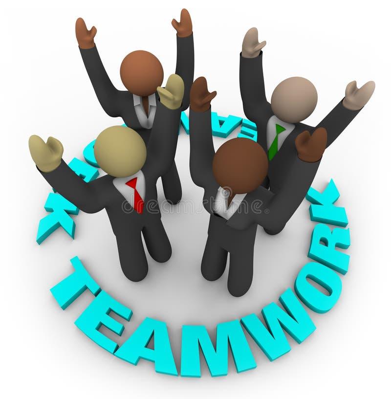 Trabalhos de equipa - membros da equipa no círculo ilustração do vetor