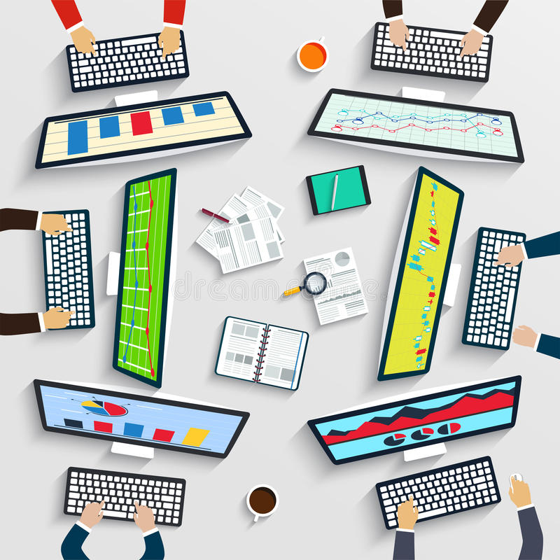 Trabalhos de equipa na tabela, estratégia empresarial, estatística, analítica da Web ilustração do vetor
