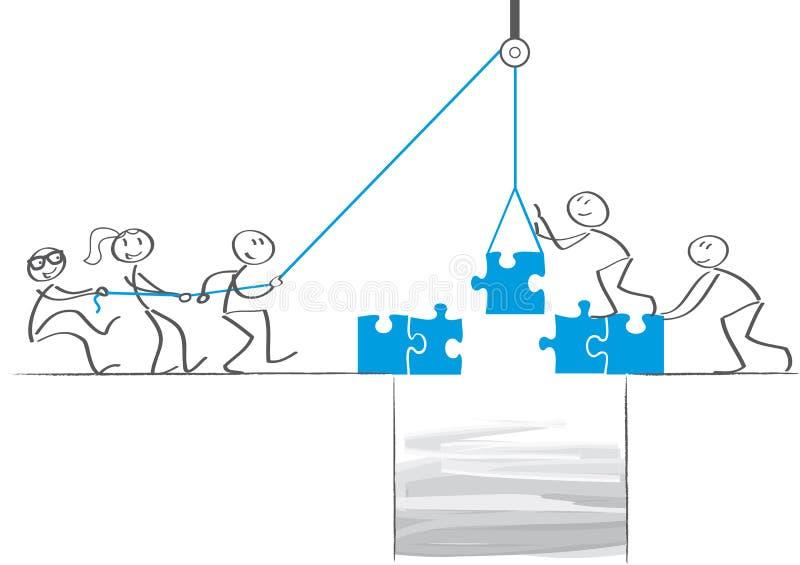 Trabalhos de equipa - os homens de negócios colaboram e constroem uma ponte ilustração royalty free