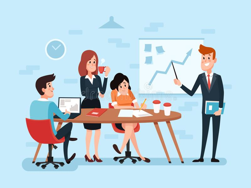 Trabalhos de equipa ou reunião de negócios do escritório Trabalho incorporado ocupado dos desenhos animados ilustração stock