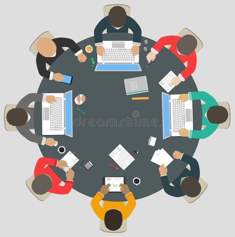 Trabalhos de equipa para a mesa redonda Estratégia empresarial do sucesso ilustração do vetor