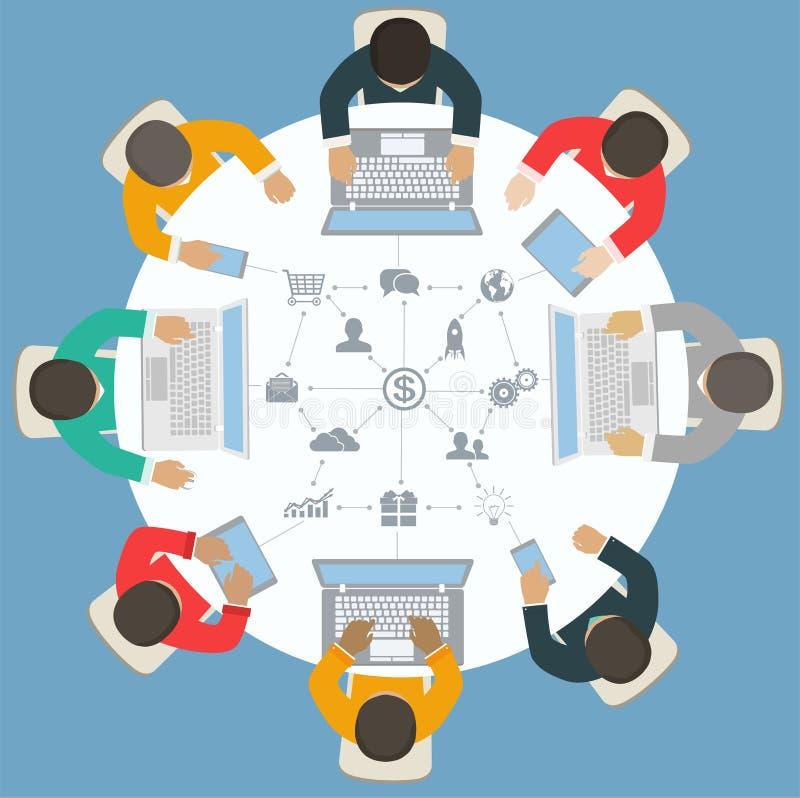 Trabalhos de equipa para a mesa redonda Estratégia empresarial do sucesso ilustração royalty free