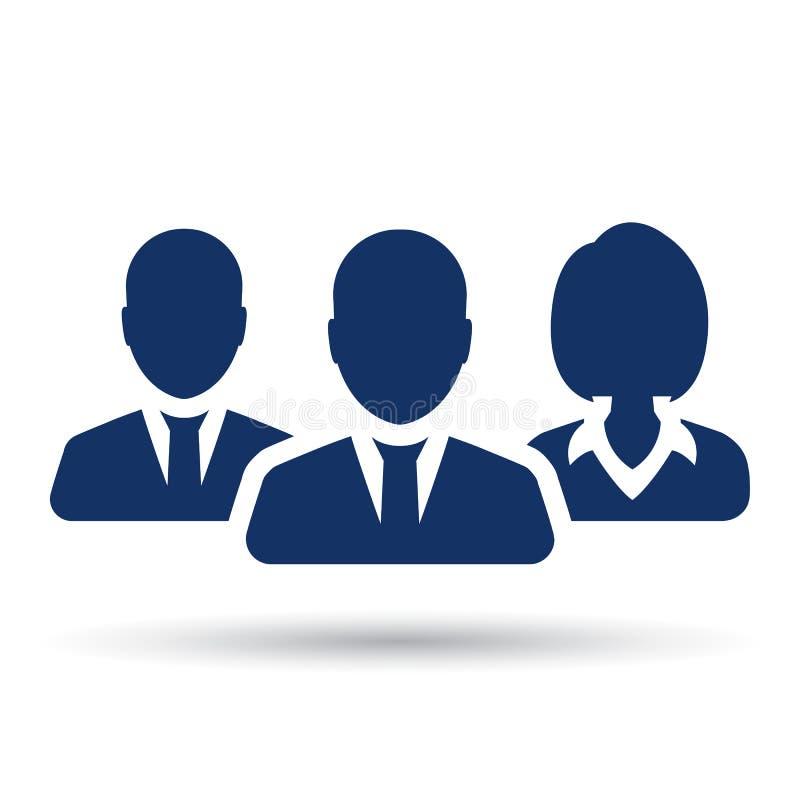 Trabalhos de equipa, pessoal, ícone da parceria, de três pessoas - vetor ilustração royalty free