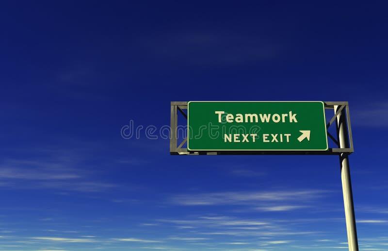Trabalhos de equipa - sinal da saída de autoestrada ilustração royalty free