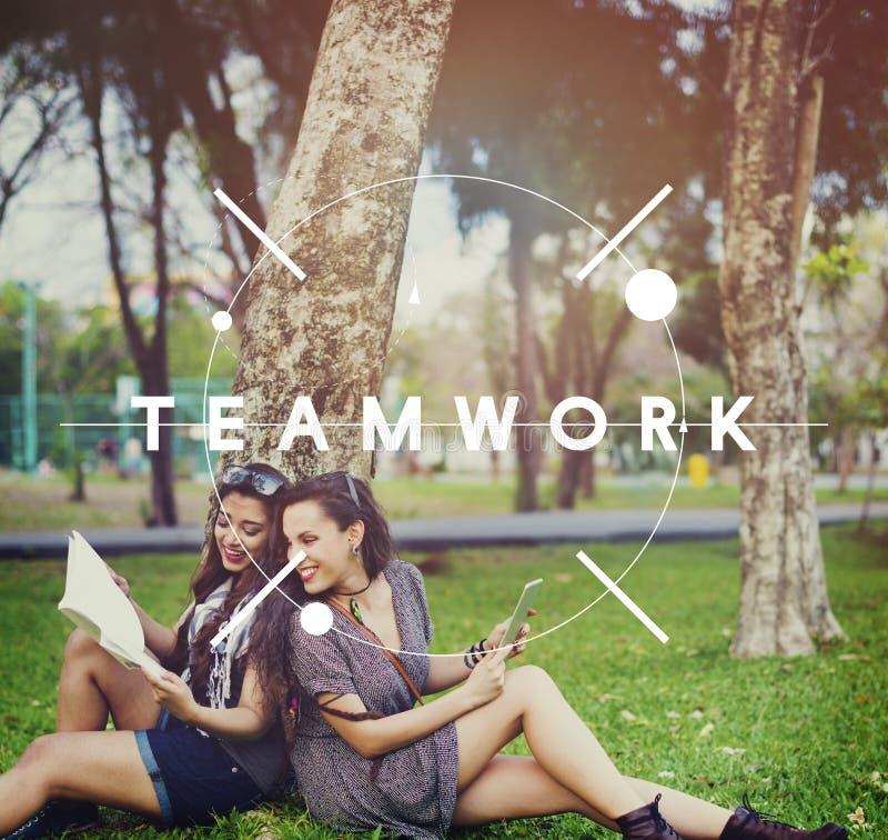 Trabalhos de equipa Team Collaboration Connection Unity Concept fotografia de stock royalty free