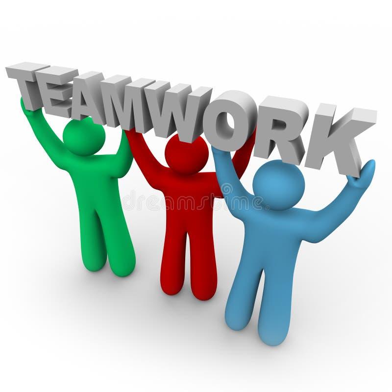 Trabalhos de equipa - três povos prendem a palavra ilustração royalty free