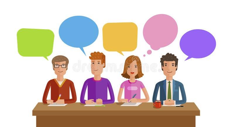 Trabalhos de equipa, trabalho da equipe Negócio, educação, opinião pública, conceito da conferência Ilustração lisa do vetor ilustração do vetor