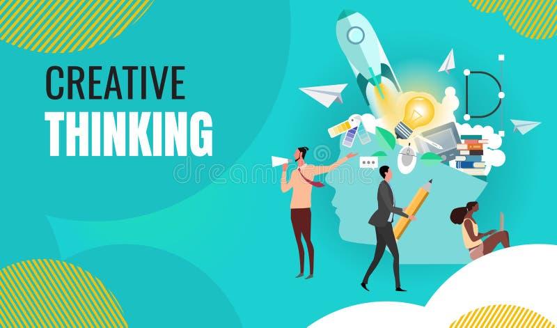 Trabalhos de equipe do pensamento criativo do negócio em encontrar ideias novas ilustração royalty free