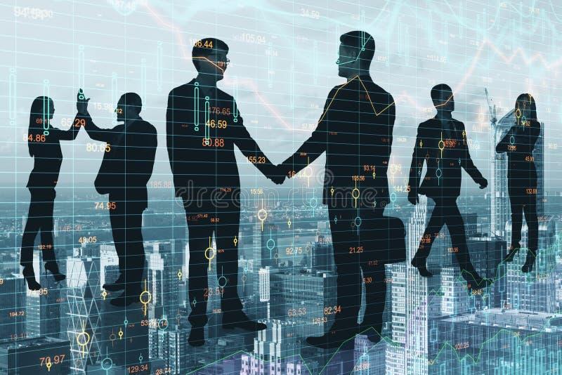 Trabalhos de equipe e conceito do stats ilustração do vetor