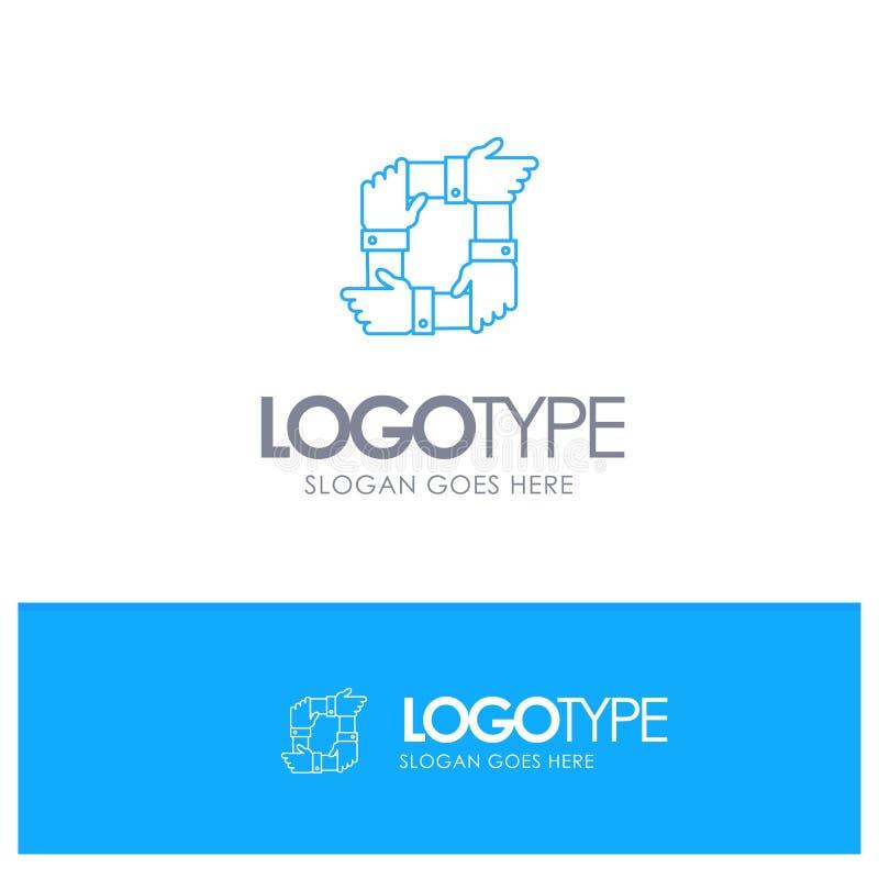 Trabalhos de equipe, negócio, colaboração, mãos, parceria, logotipo do esboço de Team Blue com lugar para o tagline ilustração royalty free