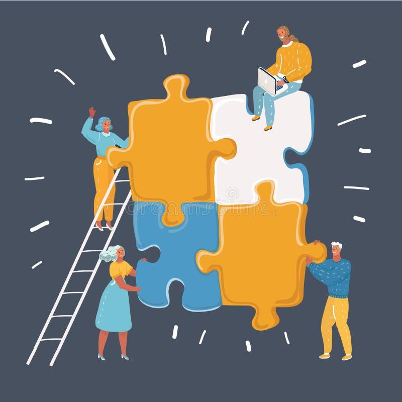 Trabalhos de equipe no processo que cria o projeto novo ilustração stock