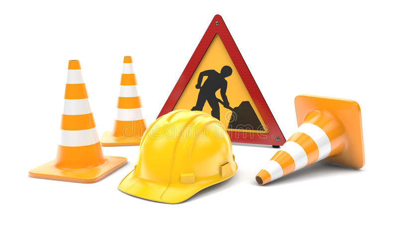 Trabalhos de estrada, cones do tráfego e sinal ilustração stock
