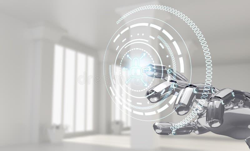 Trabalhos de mão robóticos com ícone na realidade virtual rendição 3d imagens de stock royalty free