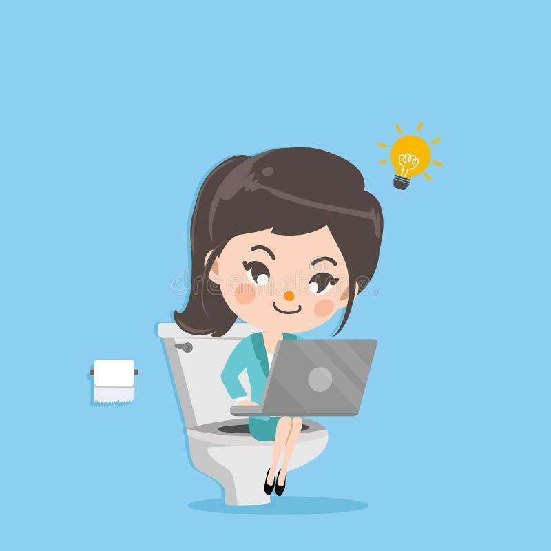 Trabalhos e sorriso da menina do negócio no toalete ilustração do vetor