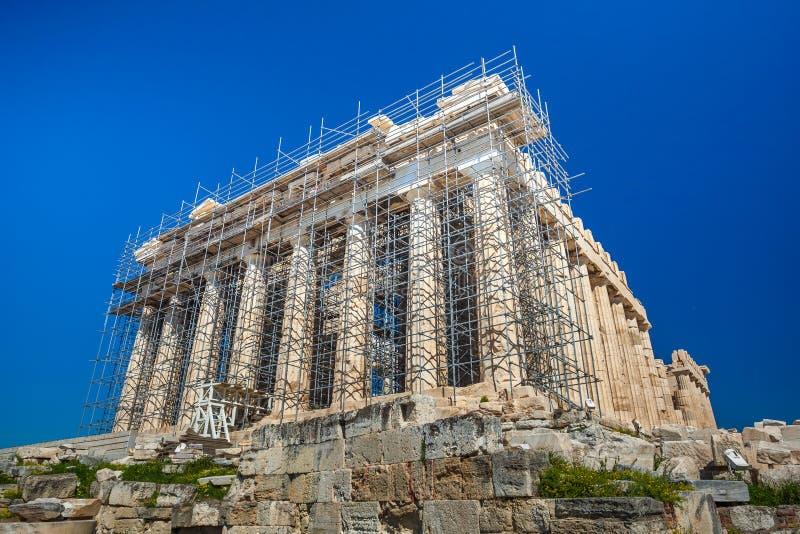 Trabalhos em curso da restauração no Partenon antigo do patrimônio mundial foto de stock royalty free