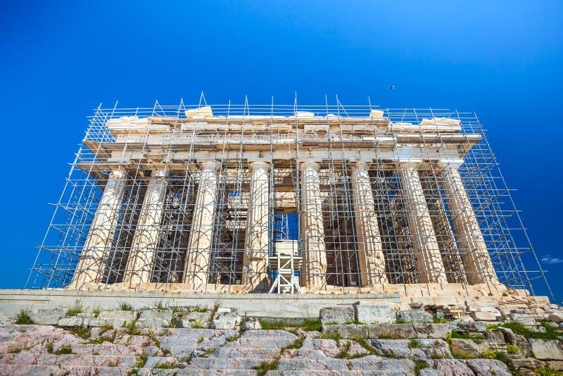 Trabalhos em curso da restauração no Partenon antigo do patrimônio mundial imagem de stock royalty free