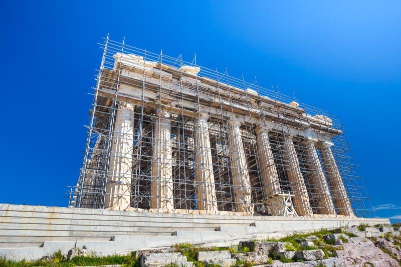 Trabalhos em curso da restauração no Partenon antigo do patrimônio mundial fotos de stock