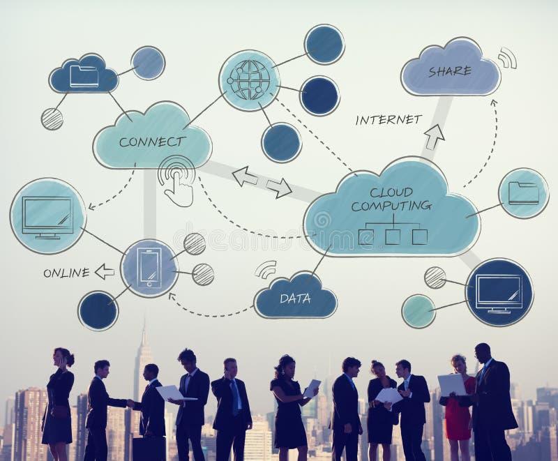 Trabalhos em rede de computação da nuvem que conectam Concpet imagem de stock