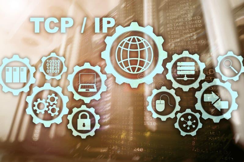 Trabalhos em rede do IP do Tcp Protocolo de controle de transmissão Conceito da tecnologia do Internet imagem de stock