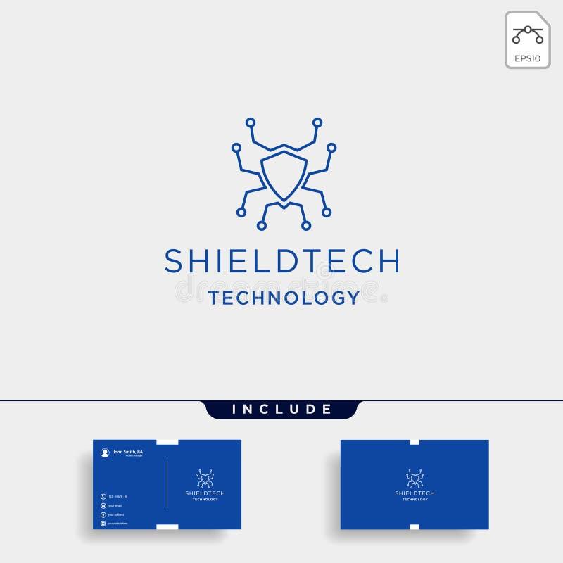 trabalhos em rede do vetor do logotipo da tecnologia do protetor para proteger o ícone do símbolo ilustração royalty free