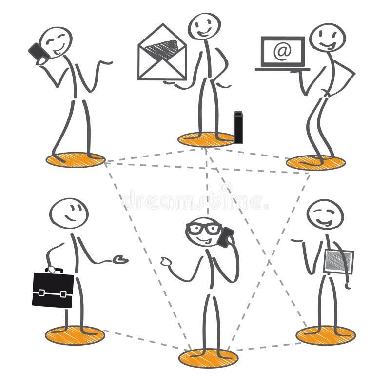 Trabalhos em rede e comunicação ilustração royalty free