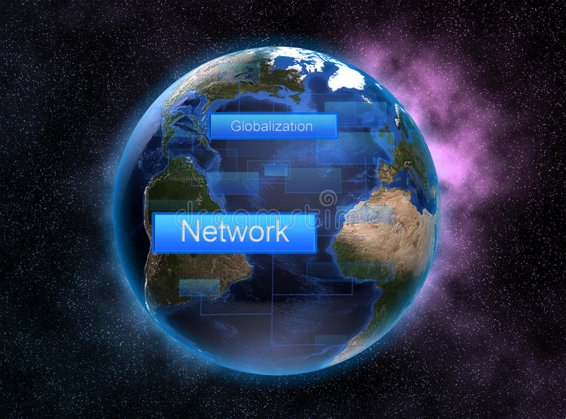 Trabalhos em rede e globalização com conceito do espaço e colorido como o fundo ilustração stock