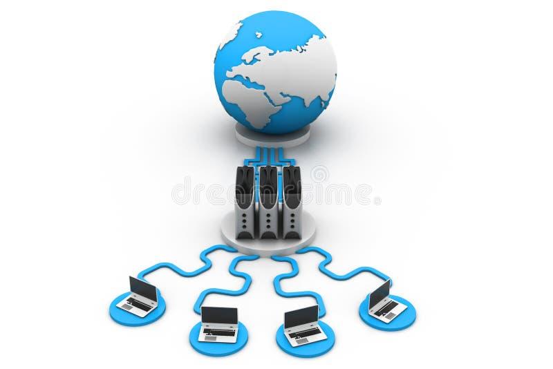 Trabalhos em rede globais do computador ilustração stock
