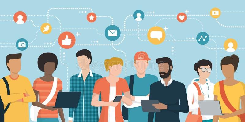 Trabalhos em rede sociais dos jovens e conexão junto em linha ilustração do vetor