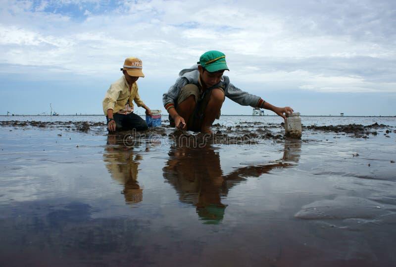 Trabalhos infanteis na praia de Vietname fotos de stock