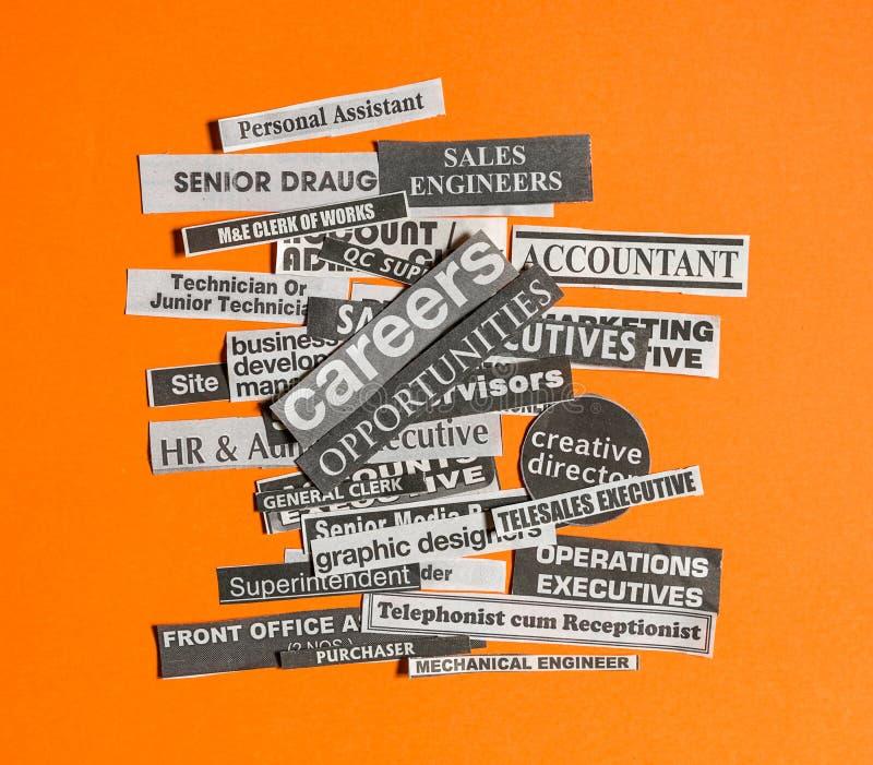 Trabalhos ou conceito das carreiras imagem de stock