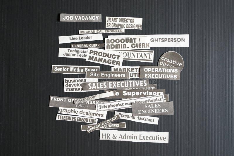 Trabalhos ou conceito das carreiras imagens de stock