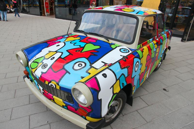 Trabant car. BERLIN, GERMANY - AUGUST 25, 2014: Colorful Trabant 601 car parked in Berlin. 3,096,099 Trabant cars were produced despite their infamous stock photos