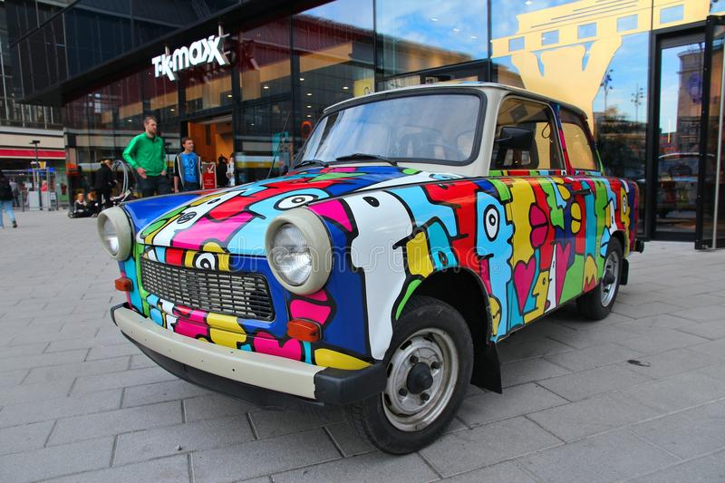 Trabant in Germany. BERLIN, GERMANY - AUGUST 25, 2014: Colorful Trabant 601 car parked in Berlin. 3,096,099 Trabant cars were produced despite their infamous royalty free stock photography