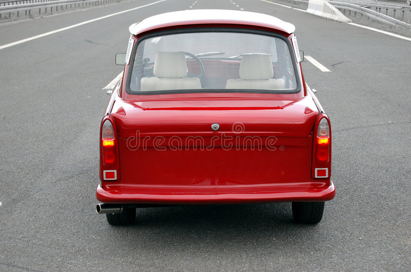 Trabant on a highway royalty free stock photos