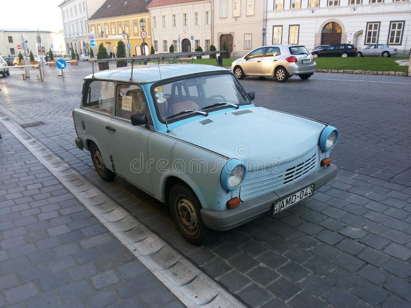Trabant. Old traban car parked in the street of budapest in Hungary. Vintage car stock images