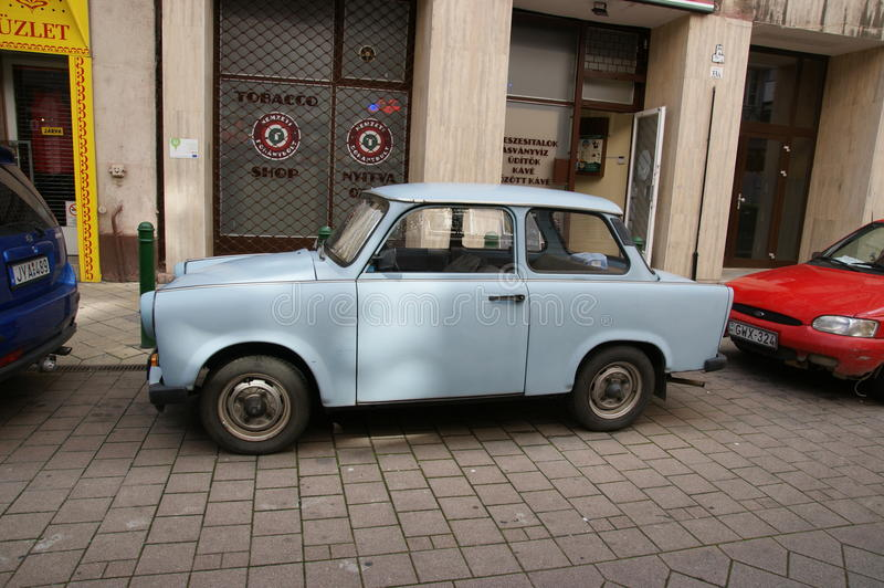 Trabant. Old traban car parked in the street of budapest in Hungary. Vintage car royalty free stock photo