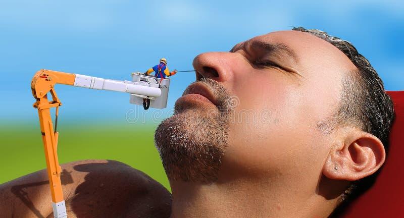 Tracassement avec des cheveux de nez photos libres de droits