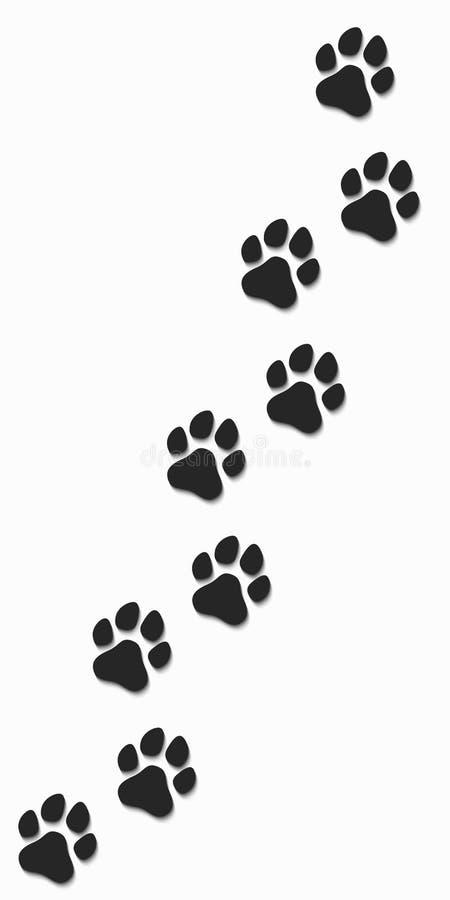 Tracce di cane nel nero su un fondo bianco Ombra molle Illustrazione di vettore illustrazione vettoriale