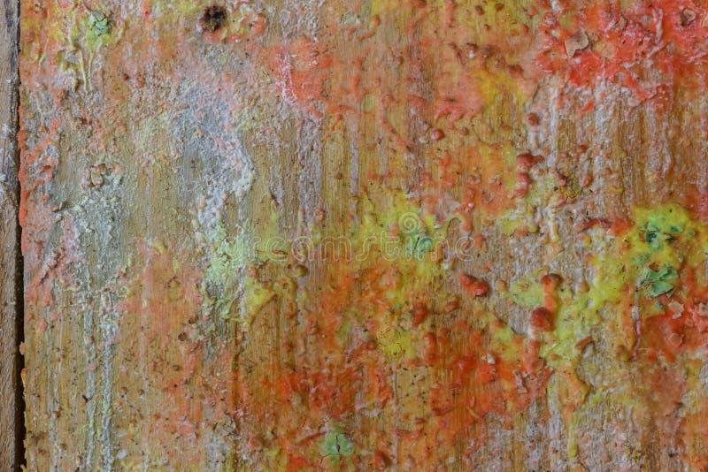 Tracce di colpi della pittura sui bordi di legno fotografia stock libera da diritti