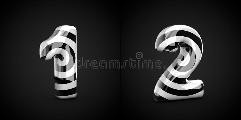 Tracce a spirale in bianco e nero 1 e 2 isolate su fondo nero illustrazione vettoriale