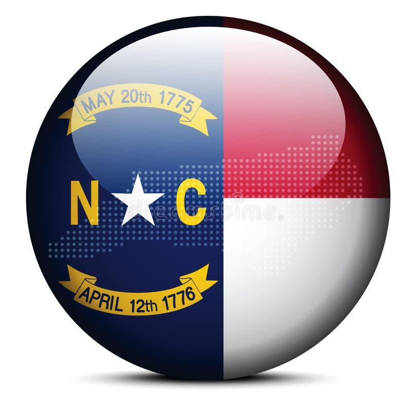 Tracci con Dot Pattern sul bottone della bandiera di U.S.A. Carolina State del nord illustrazione vettoriale