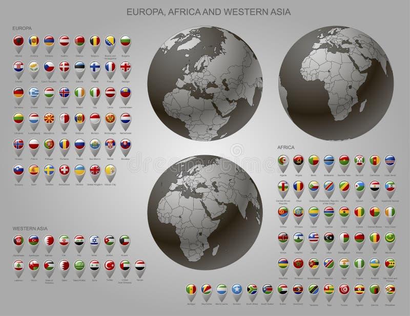 Tracci gli indicatori con le bandiere Europa, Africa ed Asia e globo occidentali illustrazione vettoriale