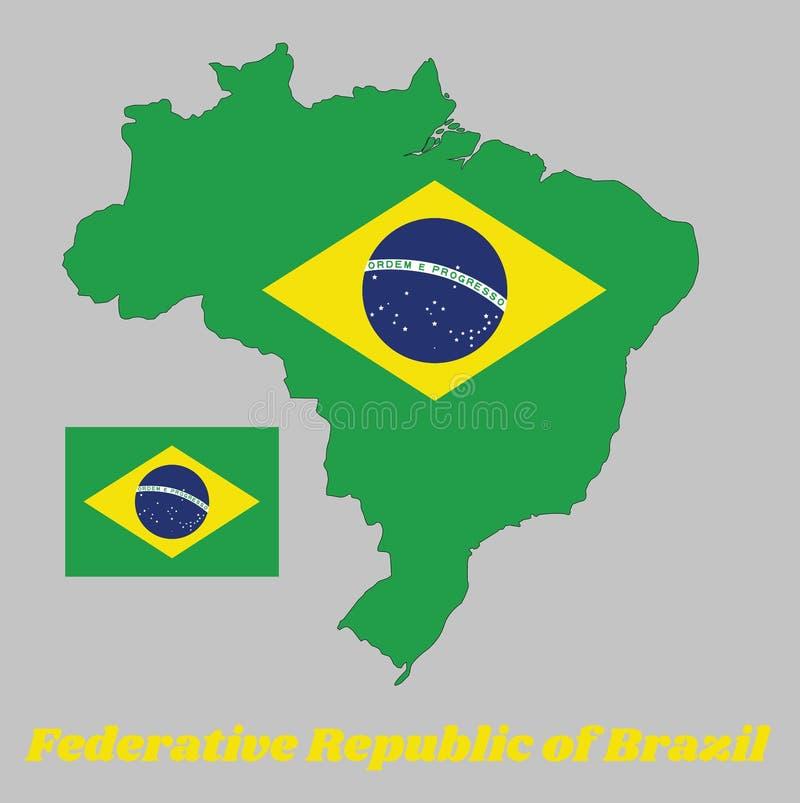 Tracci il profilo del Brasile, un campo verde con il grande diamante giallo ed il globo blu con il motto nazionale e la stella royalty illustrazione gratis