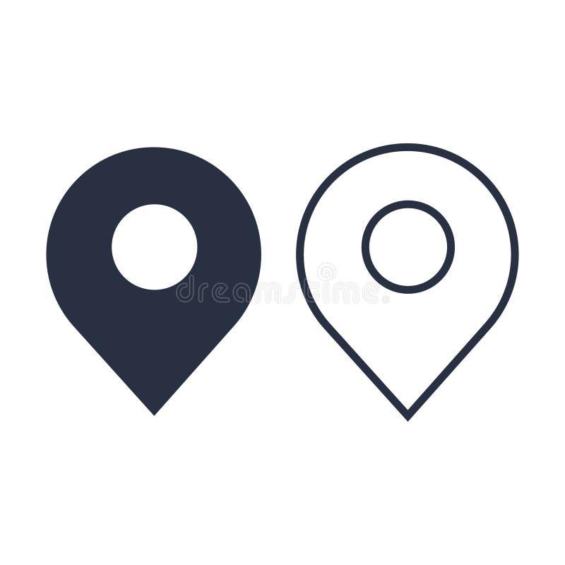 Tracci l'icona moderna di stile piano di progettazione del perno, il simbolo minimo di vettore del puntatore, segno dell'indicato illustrazione vettoriale