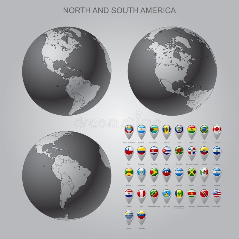 Tracci l'indicatore con il Nord delle bandiere ed il Sudamerica con l'insieme del globo illustrazione vettoriale