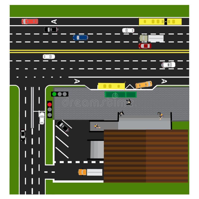 Tracci la strada, la strada principale, via, con il deposito crossroads Fermata dell'autobus Con differenti automobili illustrazione di stock