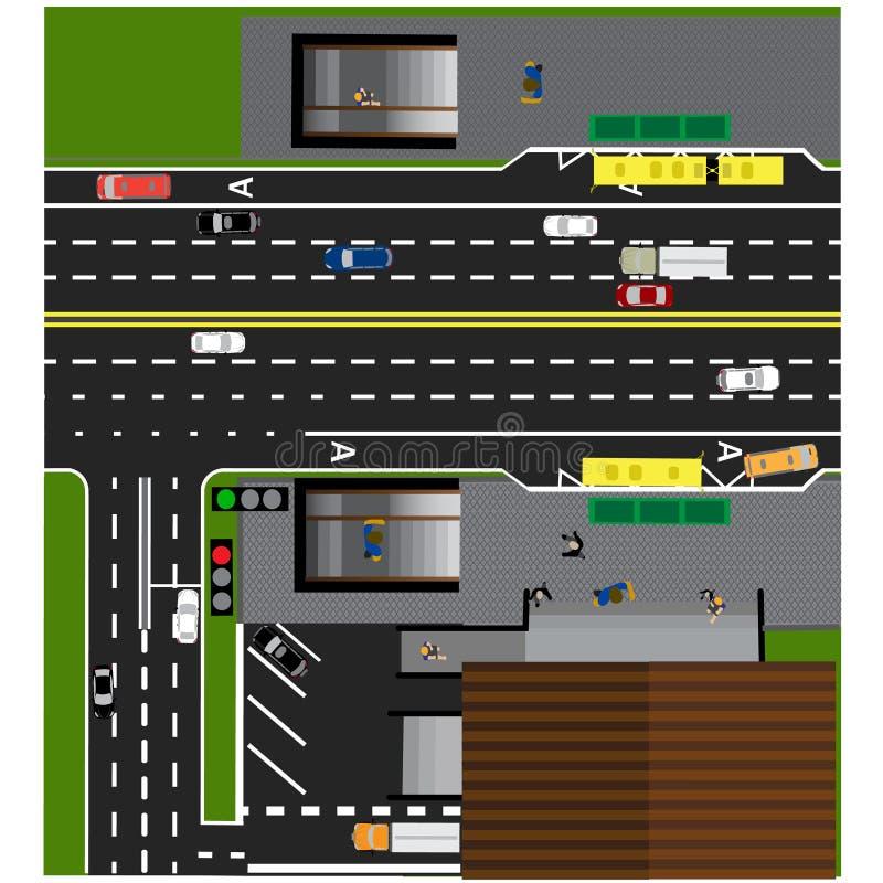 Tracci la strada, la strada principale, via, con il deposito Incrocio sotterraneo crossroads Fermata dell'autobus illustrazione di stock