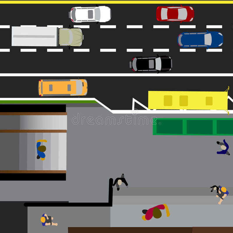 Tracci la strada, la strada principale, via, con il deposito Incrocio sotterraneo crossroads Fermata dell'autobus Con differenti  royalty illustrazione gratis