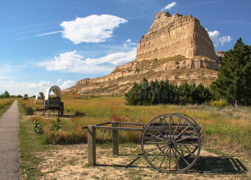 Traccia dei vagoni coperti del monumento nazionale di bluff di Scotts immagine stock