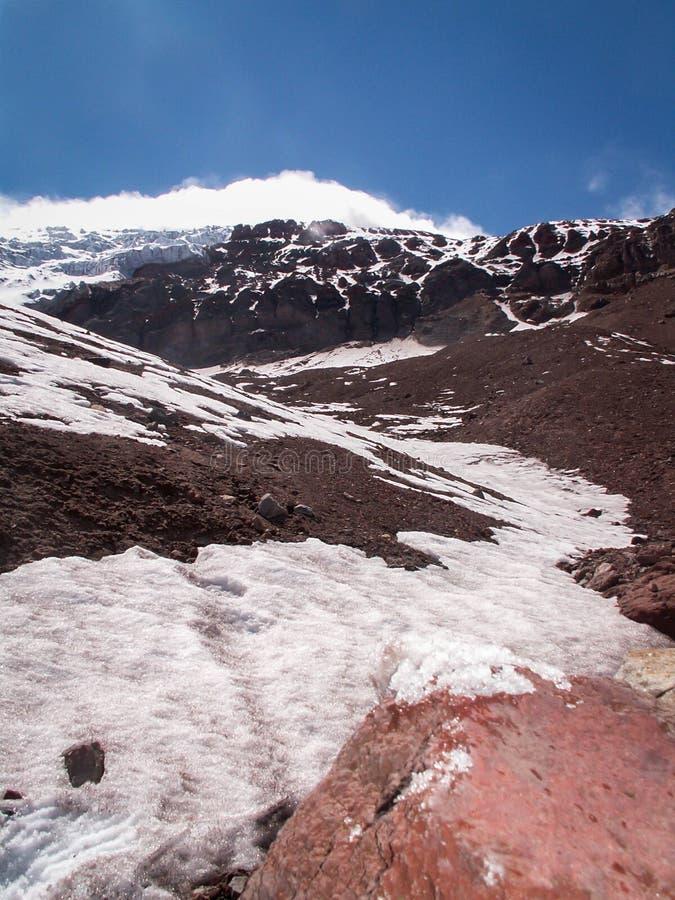 Traccia della neve di Chimborazo fotografie stock